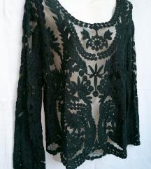 Svečana prelepa bluza, crni til sa radom