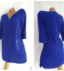 Kraljevsko-plava haljinica sa metalnim zipovima