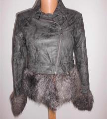Sisley kozna jakna sa krznom
