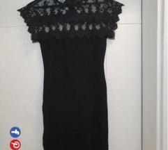 Mini crna haljina vuna i cipka, s/m