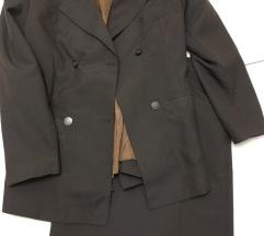 Poslovni komplet braon boje, sako i suknja