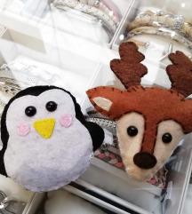 Brošići pingvin i jelen
