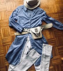 tunika straftice xs bele pantalone letnje xs