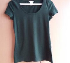 H&M tamno zelena majica kratkih rukava