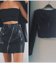 Amisu crop faux leather jacket