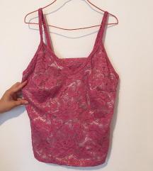 Čipkana roze majica M