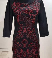 Haljina crna sa bordo šarama