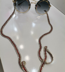 Luksuzni lancic za naočare sa tri reda cirkona