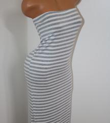 *Italy* sivo bela midi haljina*Odlična