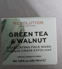Piling maska za suvu kožu lica - Zeleni caj i orah