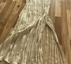 Zara novo, suknja plisirana zlatna XS