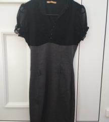 Elegantna sivo crna haljina