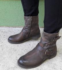 TAMARIS braon kožne kraće čizme 25,5cm