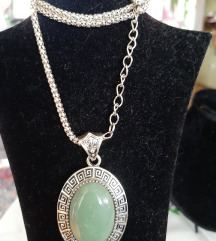 Ogrlica od indijskog srebra sa žadom