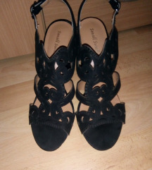 Crne sandale sa sirom petom/stiklom
