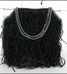 Velika atraktivna crna torba sa resicama