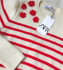 Zara ❤️ crveno krem crop dzemper NOV sa et