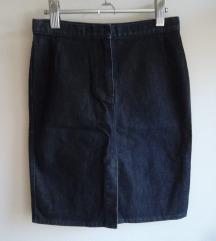 Sisley midi, duboka pencil jeans suknja, S-M