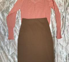 SNIZENJE Koncani dzemper+uska suknja
