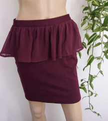 Amisu bordo peplum suknja