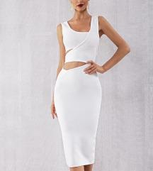 NOVA Herve Leger bela haljina sa prorezima
