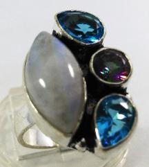 Srebrni prsten MESEČEV KAMEN, prirodan kamen,NOV