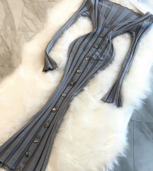Siva midi knit bodycon haljina NOVA sa et.