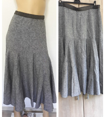 Siva dugacka lanena suknja