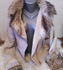 Krem jakna sa krznom