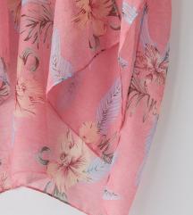 Roze cvetni ogrtac za plazu NOVO sa etiketom