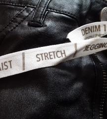 Skroz NOVE vintage crne kozne pantalone