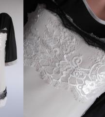 Prelepa bez-crna tunika-haljina sa cipkom,L
