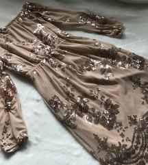 Cvetna haljina sa šljokicama