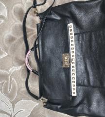 Crna maxi kožna torba, italijanska proizvodnja