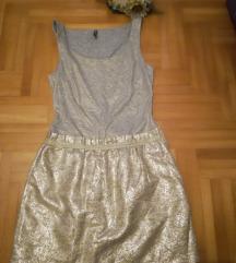 ♫ ♪ ♫ NAF NAF sivo/zlatna haljina NOVO