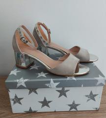 Srebrno krem sandale