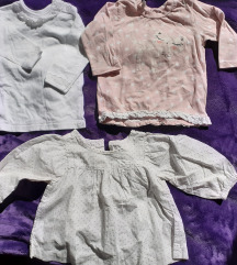 3 bluzice/majice dugih rukava, vel. 68