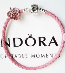 💓 Pandora Moments Pink kozna narukvica 💓 NOVO