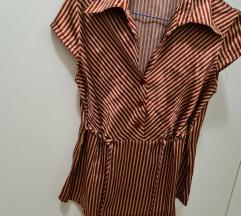 Bordo-drap, prugasta, svilena košulja, nova