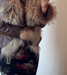 Kožna jakna sa pavim krznom