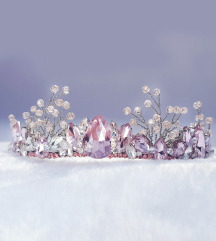 Kruna sa rozim kristalima i perlicama