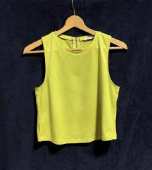 Zeleno-žuti plišani crop top, ZARA