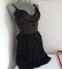 Crna haljina saten i cipka S