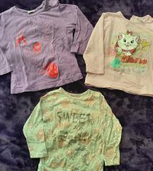 3 majice dugih rukava za devojcice, 74