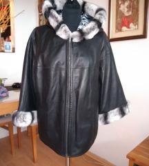 Crna jakna sa dva lica-prava koza i krzno-novo