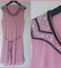 Prljavo roze haljina sa perlicama-jednom nosena