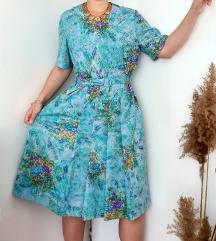 Vintage sarena haljina sa pliseom