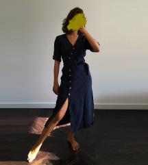 Zara teget haljina sa izrezom