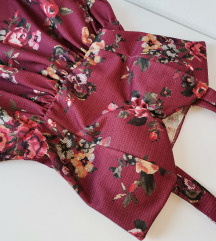Cvetna bordo korset haljina