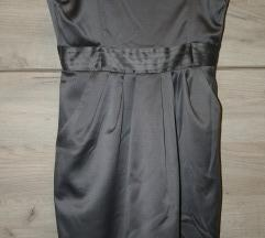 Siva saten haljina